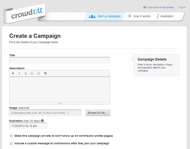 crowdtilt submit campaign